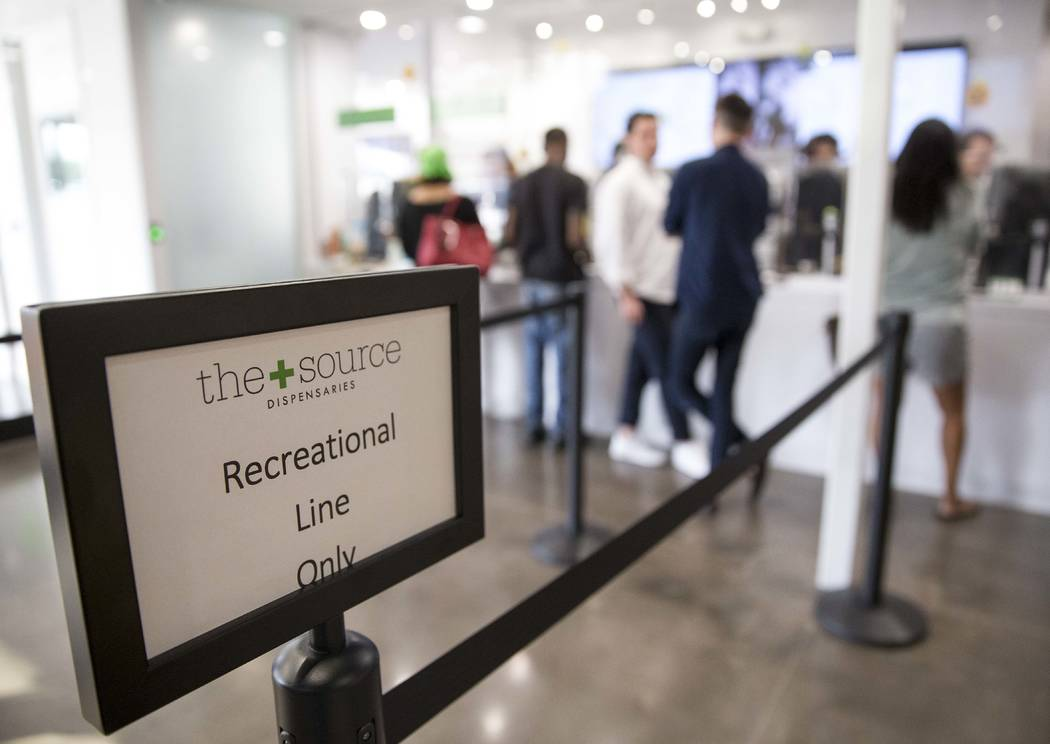 Customers make purchases at the recreational line at The Source cannabis dispensary in Henderson on Friday, Oct. 20, 2017. Richard Brian Las Vegas Review-Journal @vegasphotograph