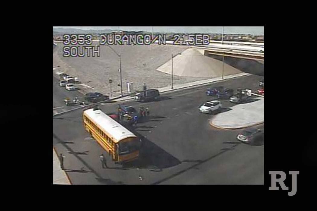 Pickup crashes into school bus in northwest Las Vegas