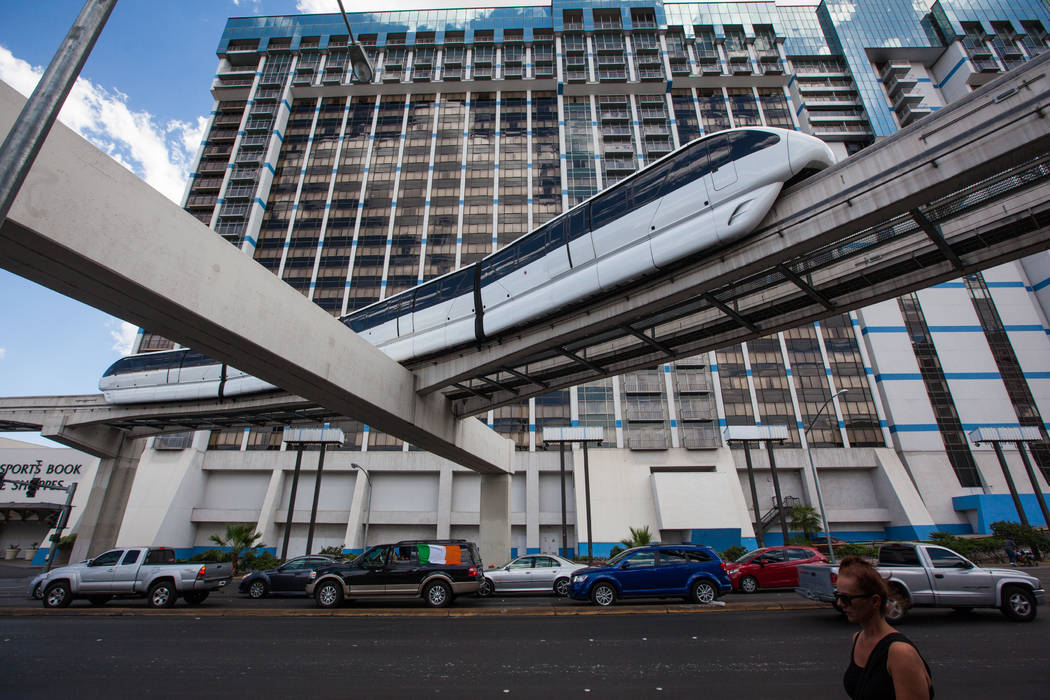 The Las Vegas Monorail passes over traffic on Flamingo Road near Linq Lane in Las Vegas on Thursday, July 9, 2015. (Chase Stevens/Las Vegas Review-Journal) Follow Chase Stevens on Twitter @cssteve ...