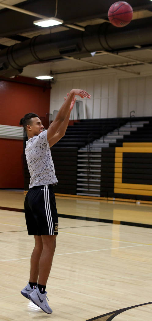 Clark High School senior Greg Foster shoots during basketball practice at Clark High School in Las Vegas, Monday Oct. 23, 2017. Elizabeth Brumley Las Vegas Review-Journal @EliPagePhoto