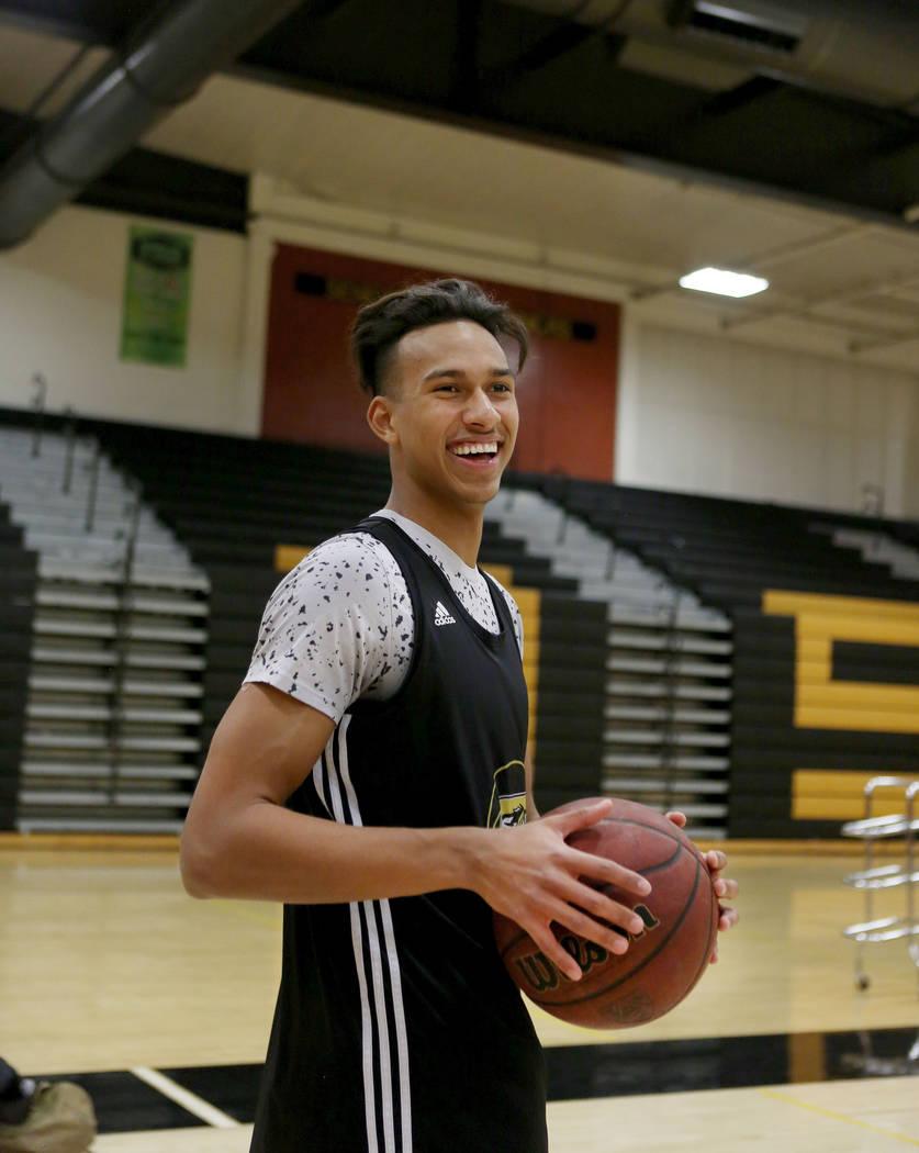 Clark High School senior Greg Foster during basketball practice at Clark High School in Las Vegas, Monday Oct. 23, 2017. Elizabeth Brumley Las Vegas Review-Journal @EliPagePhoto
