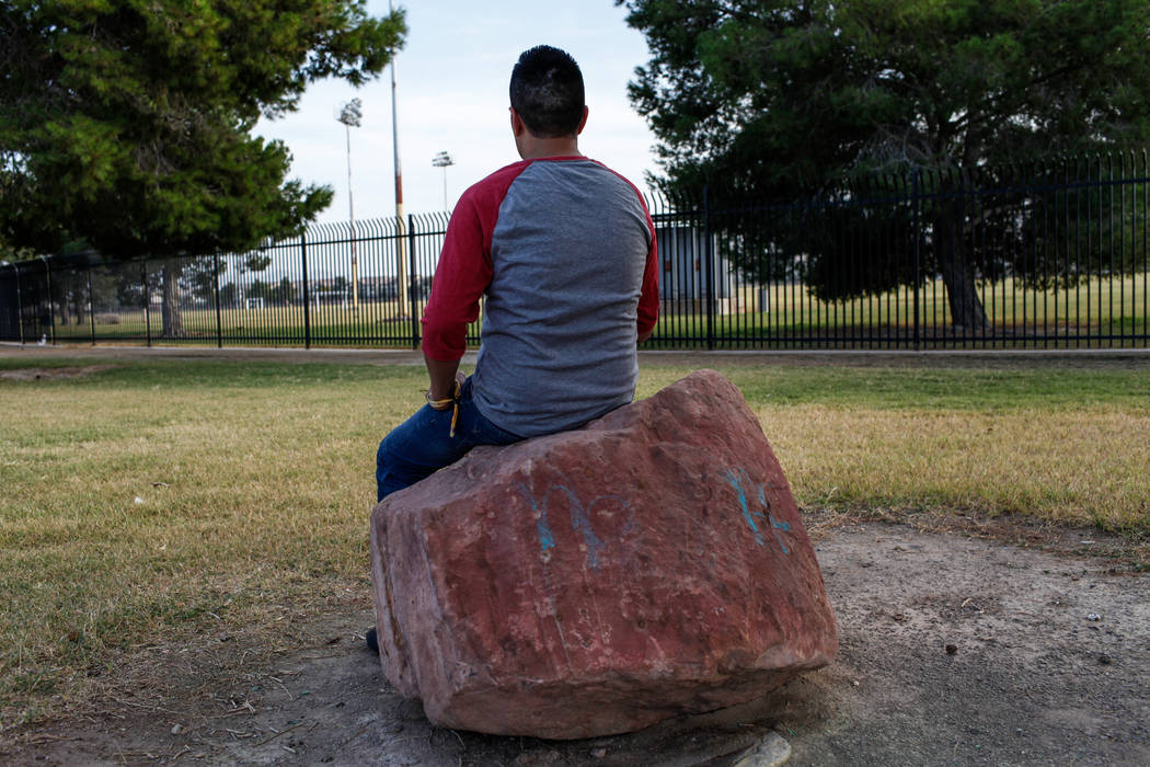 Alex, an undocumented Mexican immigrant whose last name was withheld for privacy reasons, at Silver Bowl Park in Las Vegas, Friday, Oct. 20, 2017. Alex is applying for a U visa after surviving the ...