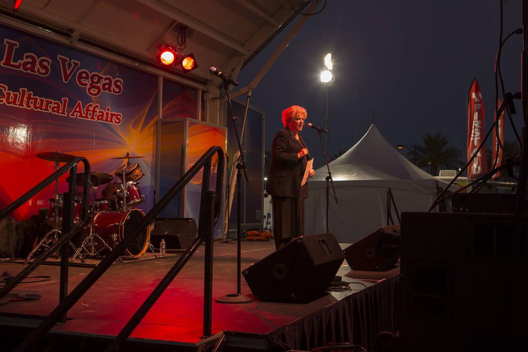 Las Vegas mayor Carolyn Goodman speaks at First Friday in Las Vegas, Friday, Oct. 6, 2017. This is the 15th anniversary of First Friday downtown Las Vegas. Bridget Bennett Las Vegas Review-Journal ...