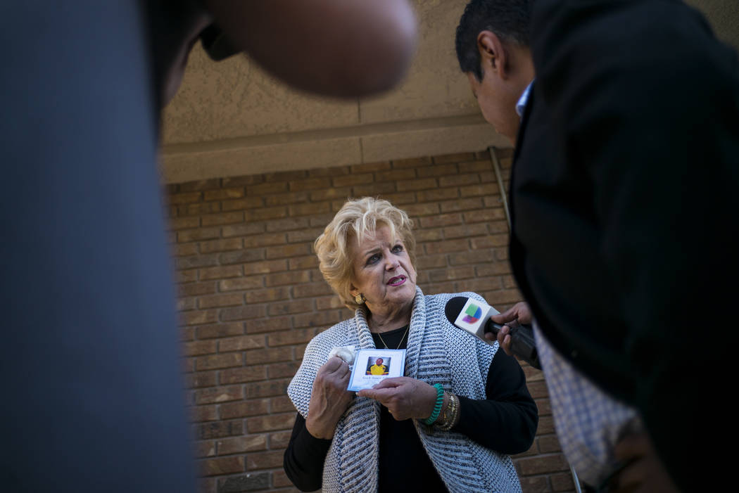 Las Vegas Mayor Carolyn Goodman talks about Erick Silva during his memorial service at Davis Funeral Home in Las Vegas on Wednesday, Oct. 11, 2017. Silva was working as a security guard at the Rou ...