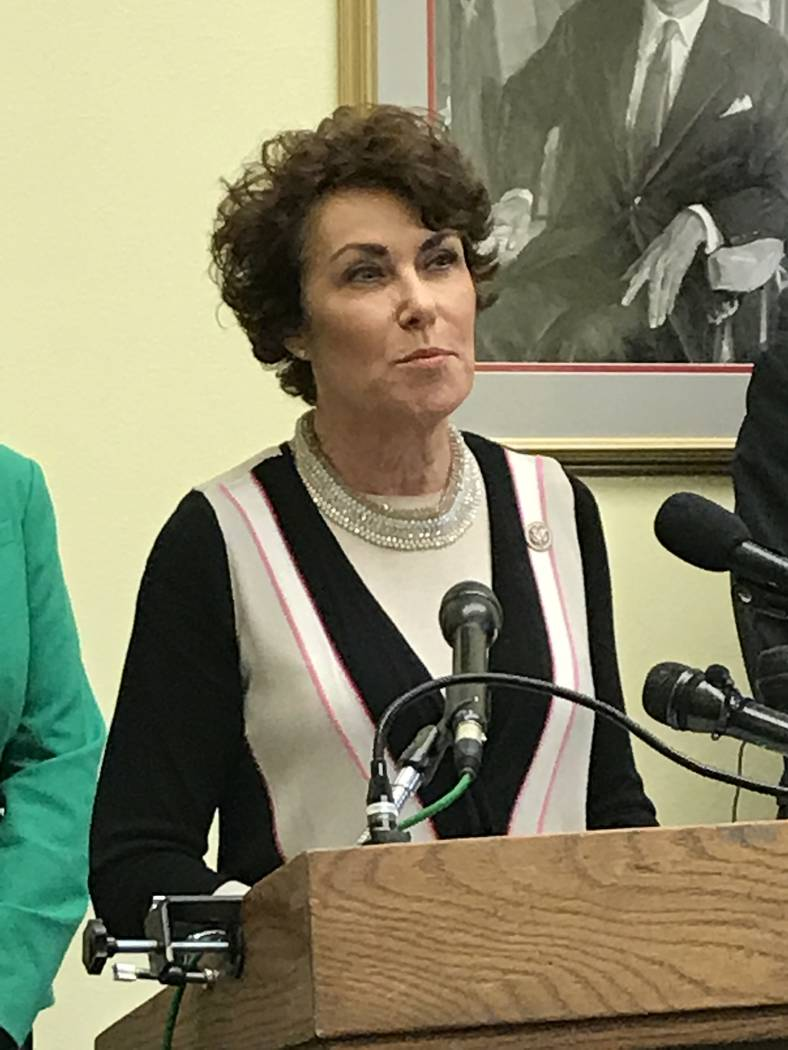 Rep. Jacky Rosen, D-Nev., speaks out against gun violence on Thursday, Aug. 12, 2017, following the Las Vegas Strip shooting. Rosen joined colleagues in seeking a limit on high-capacity ammunition ...