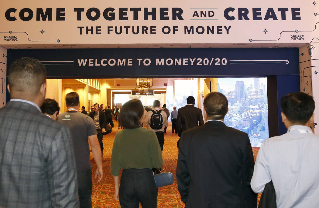 Attendees arrive at the 2017 Money 20/20 conference at the Sands Expo and Convention Center Monday, Oct. 23, 2017, in Las Vegas. Bizuayehu Tesfaye Las Vegas Review-Journal @bizutesfaye