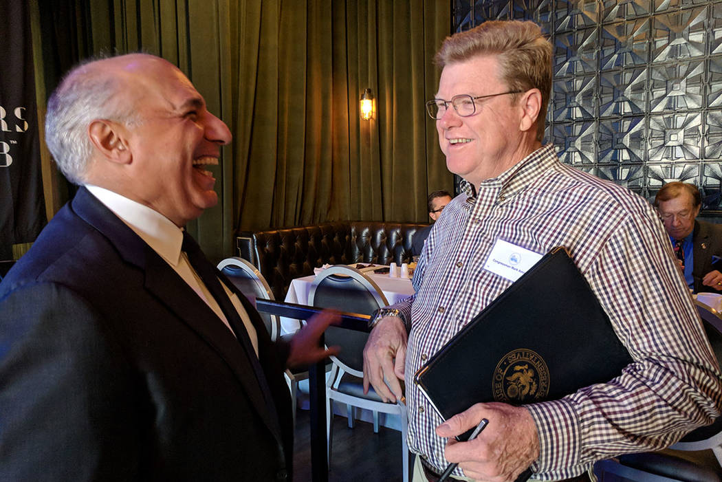 Rep. Mark Amodei, R-Nev., chats with Las Vegas City Councilman and 2018 Congressional candidate Stavros Anthony on Oct. 20, 2017 before a Las Vegas Metro Chamber of Commerce breakfast at The Sayer ...