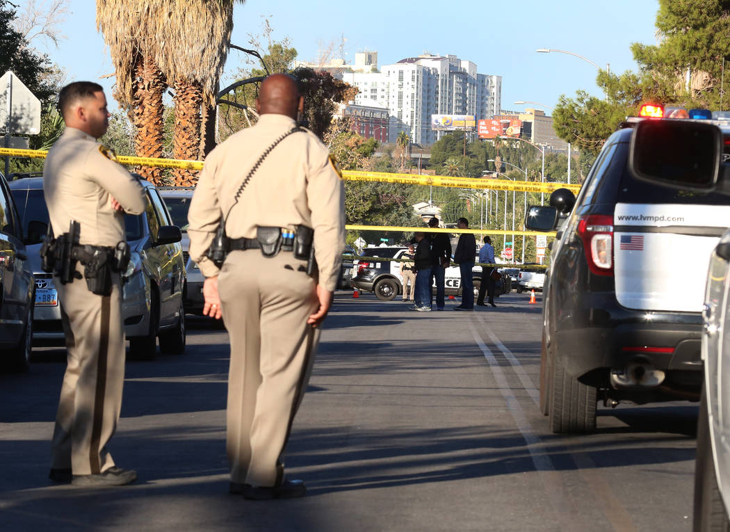 Las Vegas police are investigating a homicide Monday, Oct. 16, 2017 at Cedar Avenue near Eastern Avenue. A man suffering gunshot wounds was hospitalized at University Medical Center, where he late ...