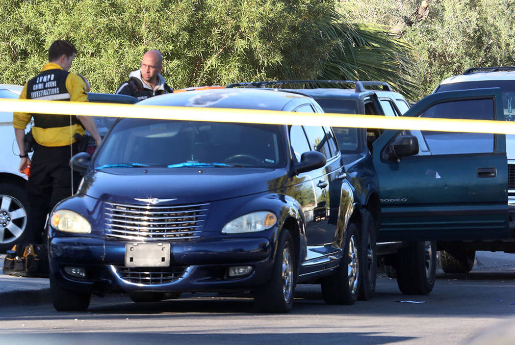 Las Vegas police are investigating a homicide Monday, Oct. 16, 2017 at Cedar Avenue near Eastern Avenue.  A man suffering gunshot wounds was hospitalized at University Medical Center, where he lat ...