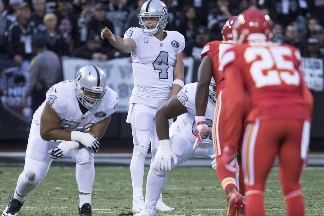 Oakland Raiders quarterback Derek Carr (4) calls a play at the line of scrimmage during the first half of their game against the Kansas City Chiefs in Oakland, Calif., Thursday, Oct. 19, 2017. Hei ...