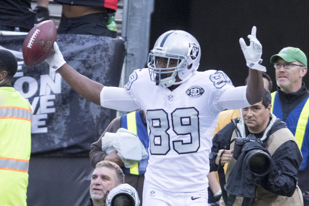 Oakland Raiders wide receiver Amari Cooper (89) celebrates after scoring a touchdown during the first half of their game in Oakland, Calif., Thursday, Oct. 19, 2017. Heidi Fang Las Vegas Review-Jo ...