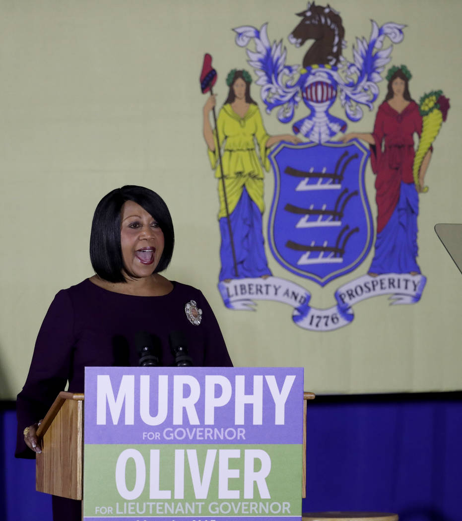 Democratic nominee for New Jersey lieutenant governor Sheila Oliver, an assemblywoman from East Orange, N.J., speaks during a canvasing event for Democratic gubernatorial nominee Phil Murphy, Thur ...
