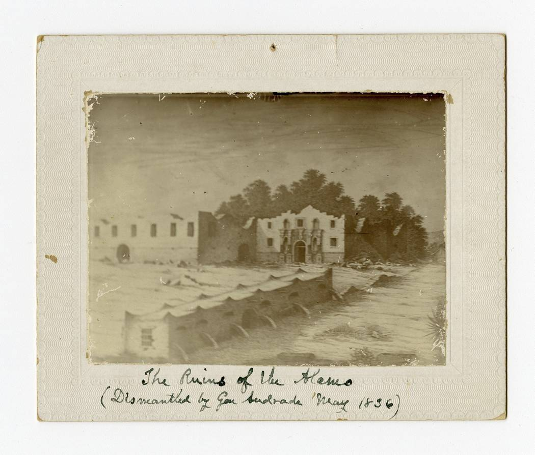 This undated historical image courtesy of the Texas State Library and Archives Commission shows the painting of the Alamo building when the battle ended. Texas Land Commissioner George P. Bush is  ...