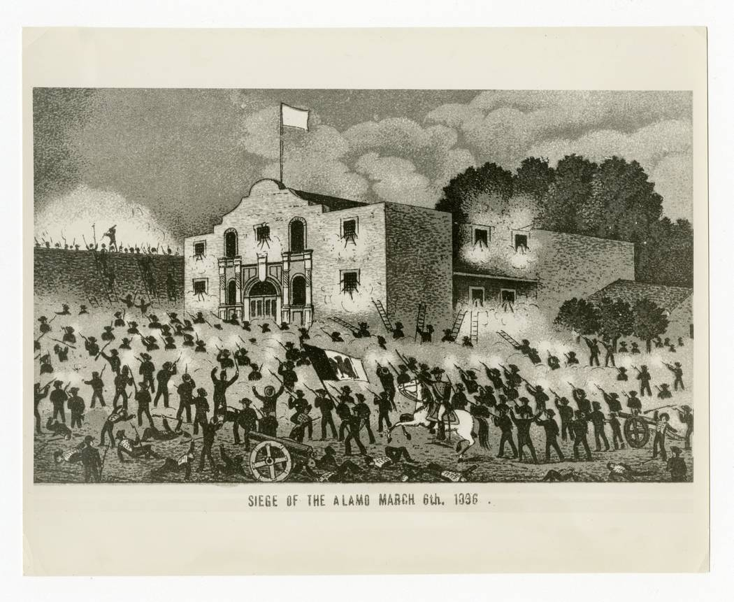 "This undated historical image courtesy of the Texas State Library and Archives Commission shows the drawing ""Siege of the Alamo, March 6th, 1836."" Texas Land Commissioner George  ..."