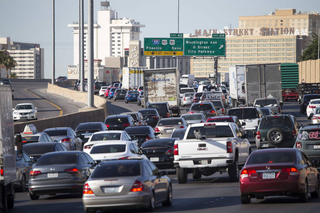 Traffic moves along the southbound Interstate 15, north of downtown Las Vegas, on Monday, June 19, 2017. (Richard Brian Las Vegas Review-Journal) @vegasphotograph