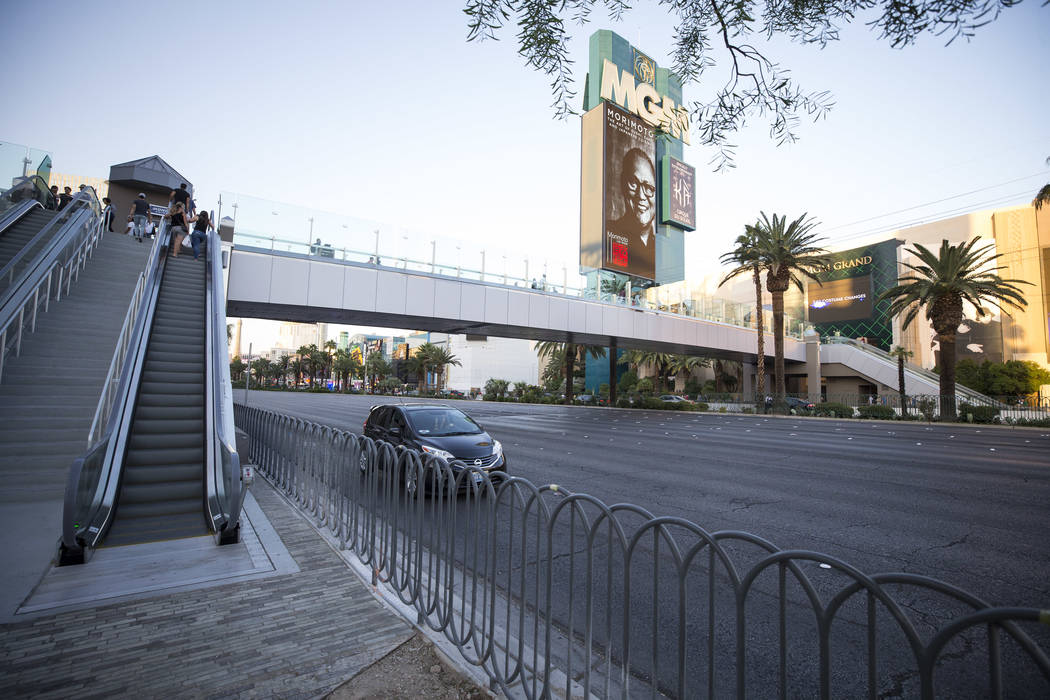 A pedestrian bridge linking New York-New York and MGM Grand near the intersection of Las Vegas Boulevard and Tropicana Avenue in Las Vegas, Thursday, Oct. 12, 2017. Richard Brian Las Vegas Review- ...