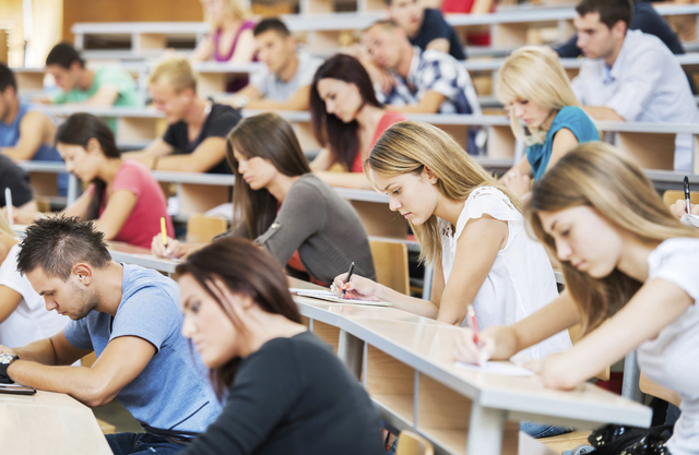 Students in a class. Stock file image