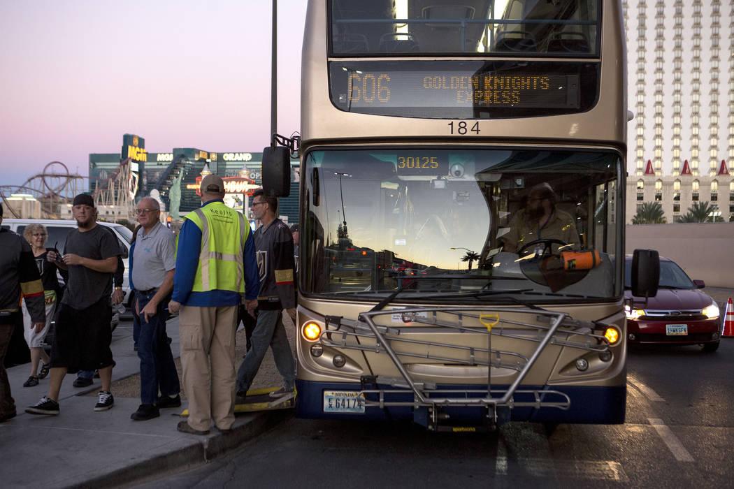 An express buss arrives at T-Mobile Arena in Las Vegas for the Vegas Golden Knights game on Tuesday, Oct. 24, 2017. Bridget Bennett Las Vegas Review-Journal @BridgetKBennett