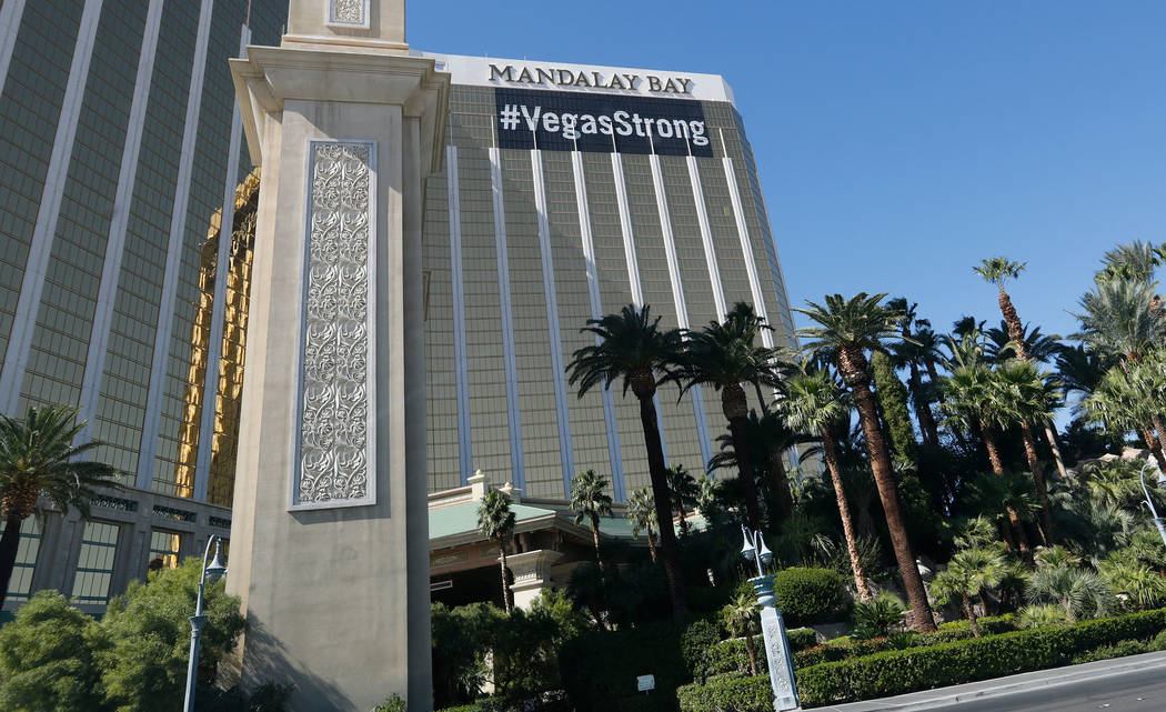 "A ""Vegas Strong"" banner hangs from the Mandalay Bay in Las Vegas, Saturday, Oct. 14, 2017. Chitose Suzuki Las Vegas Review-Journal"