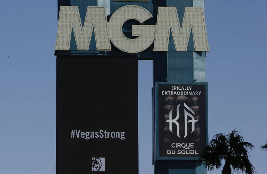 The marquee at MGM Resorts International displays #VegasStrong sign on Thursday, Oct. 5, 2017, in Las Vegas. Bizuayehu Tesfaye Las Vegas Review-Journal @bizutesfaye