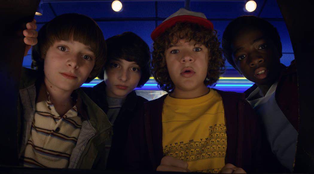 From left, Noah Schnapp, FInn Wolfhard, Gaten Matarazzo, Caleb Mclaughlin star in Stranger Things (Courtesy Netflix)