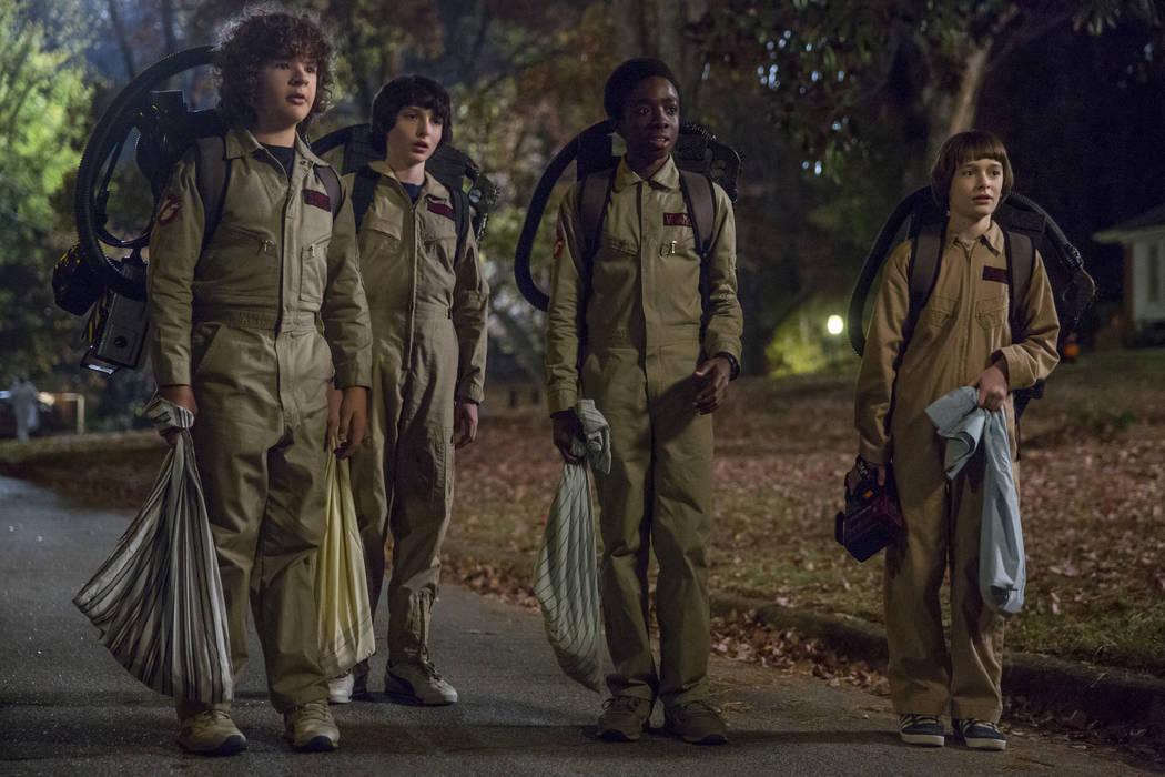 From left, Gaten Matarazzo, Finn Wolfhard, Caleb McLaughlin, Noah Schnapp star in Stranger Things (Jackson Lee Davis/Netflix)