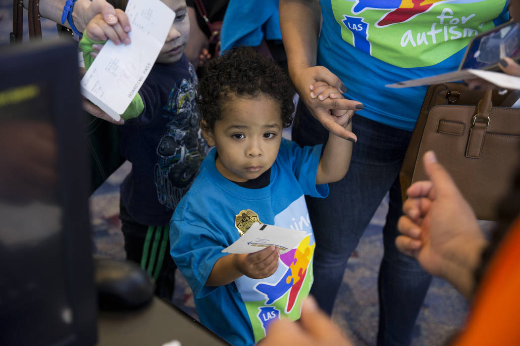 Rone Knox, 3, before boarding an Allegiant plane during the Wings for Autism event at McCarran International Airport in Las Vegas, Saturday, Oct. 21, 2017. Erik Verduzco Las Vegas Review-Journal @ ...
