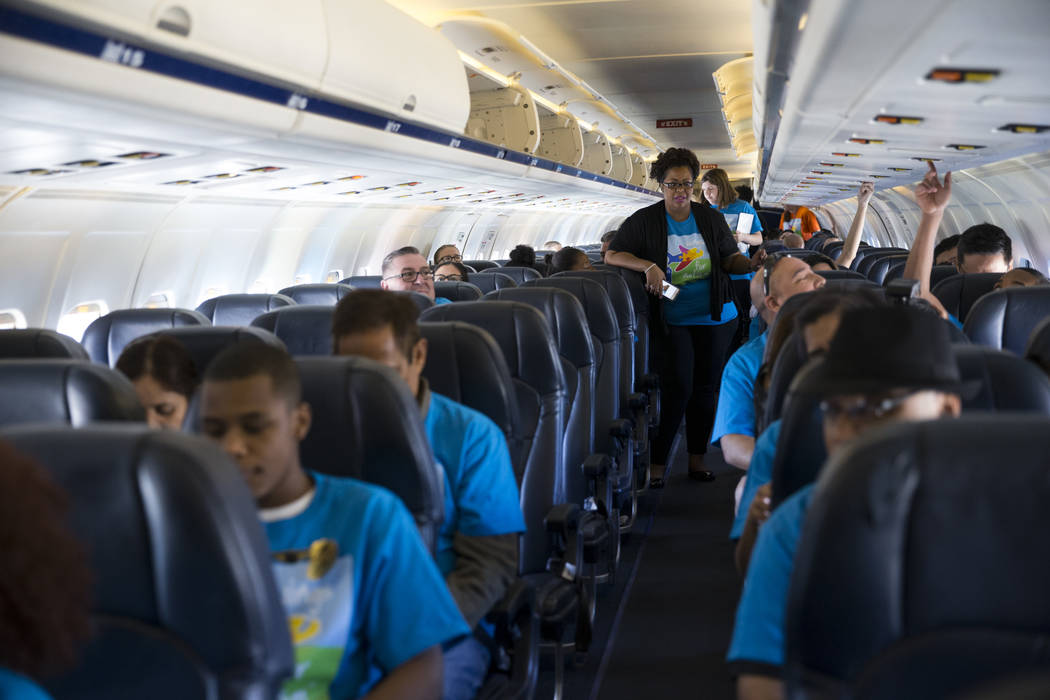 People on board of an Allegiant plane during the Wings for Autism event at McCarran International Airport in Las Vegas, Saturday, Oct. 21, 2017. Erik Verduzco Las Vegas Review-Journal @Erik_Verduzco
