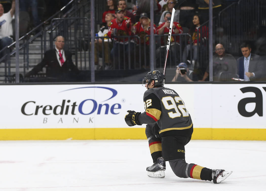 Golden Knights' Tomas Nosek (92) celebrates his goal against the Chicago Blackhawks during an NHL hockey game at T-Mobile Arena in Las Vegas on Tuesday, Oct. 24, 2017. Chase Stevens Las Vegas Revi ...