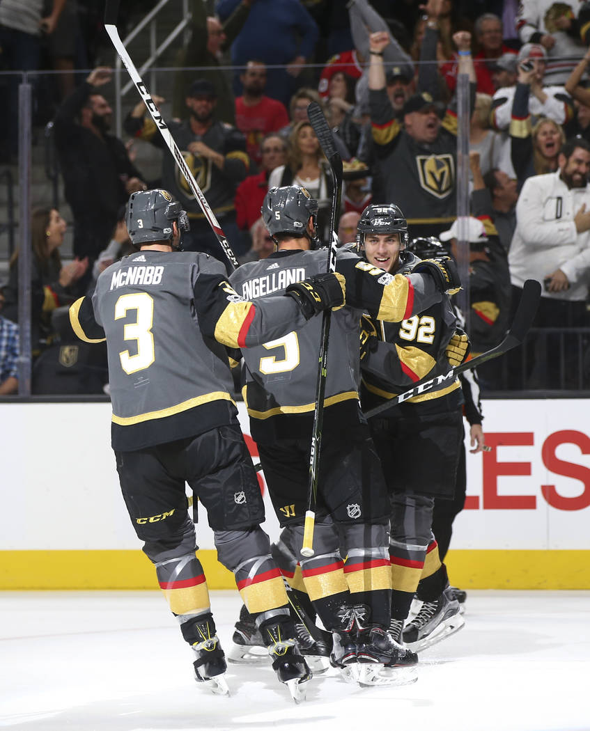 Golden Knights' Tomas Nosek (92) celebrates his goal against the Chicago Blackhawks with teammates during an NHL hockey game at T-Mobile Arena in Las Vegas on Tuesday, Oct. 24, 2017. Chase Stevens ...