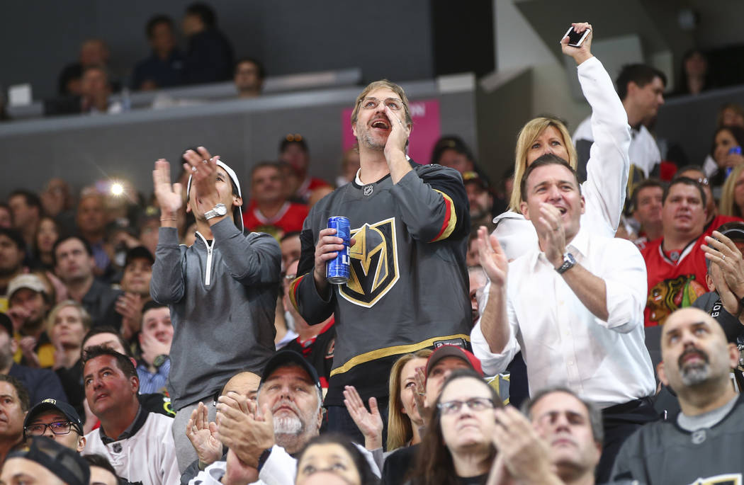 Golden Knights fans cheer during an NHL hockey game against the Chicago Blackhawks at T-Mobile Arena in Las Vegas on Tuesday, Oct. 24, 2017. Chase Stevens Las Vegas Review-Journal @csstevensphoto