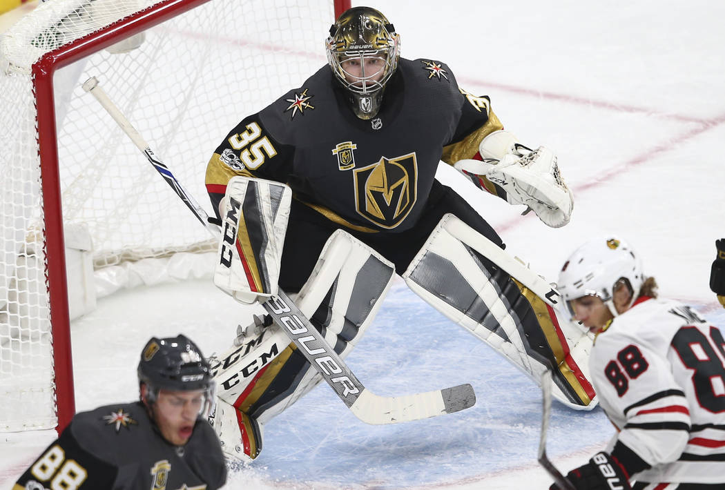 Golden Knights' goalie Oscar Dansk (35) defends during an NHL hockey game against the Chicago Blackhawks at T-Mobile Arena in Las Vegas on Tuesday, Oct. 24, 2017. Chase Stevens Las Vegas Review-Jo ...