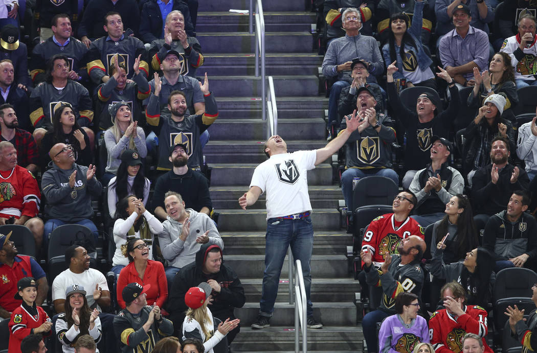 A man entertains the crowd during an NHL hockey game between the Golden Knights and Chicago Blackhawks at T-Mobile Arena in Las Vegas on Tuesday, Oct. 24, 2017. Chase Stevens Las Vegas Review-Jour ...
