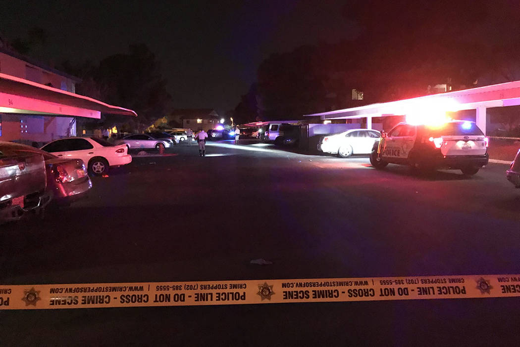 The scene of a hit-and-run incident that left a 1-year-old dead at Liberty Village Apartments in Las Vegas on Sunday, Oct. 15, 2017. Blake Apgar Las Vegas Review-Journal