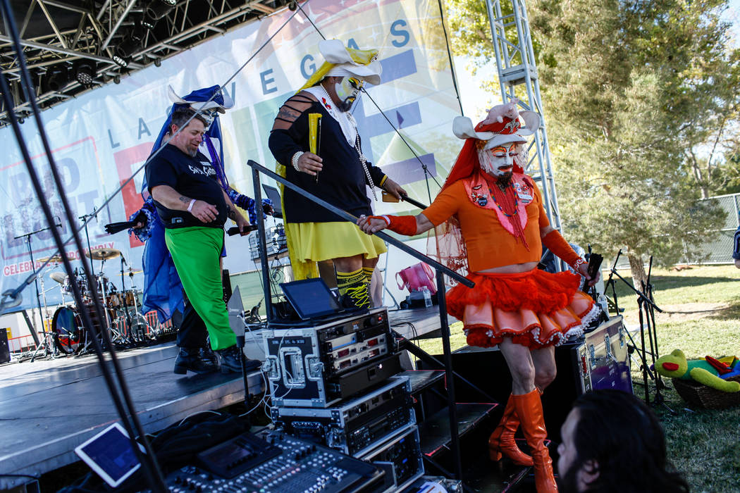 Sin Sity Sisters of Perpetual Indulgence's Century Fortitude, left, Sister Loosy, second from left, Sister Ema, second from right, and Sister Gloria Aveola, right, walk off stage during the Las Ve ...