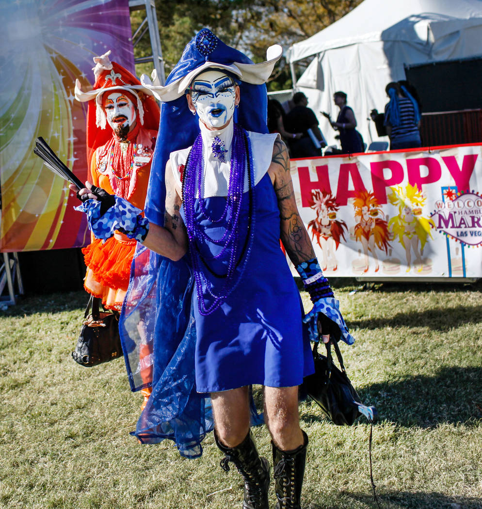 Sin Sity Sisters of Perpetual Indulgence's Sister Gloria Aveola, left, and Sister Loosy, right, walk through the Las Vegas PRIDE Festival at Sunset Park in Las Vegas, Sunday, Oct. 22, 2017. Joel A ...