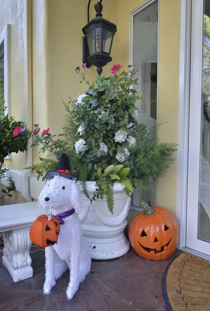 """Part of the Halloween decor is shown at the home of entertainer Frank Marino in Las Vegas on Monday, Oct. 16, 2017. Marino is the star of """"Frank Marino's Divas"""" at The Linq. ( ..."""