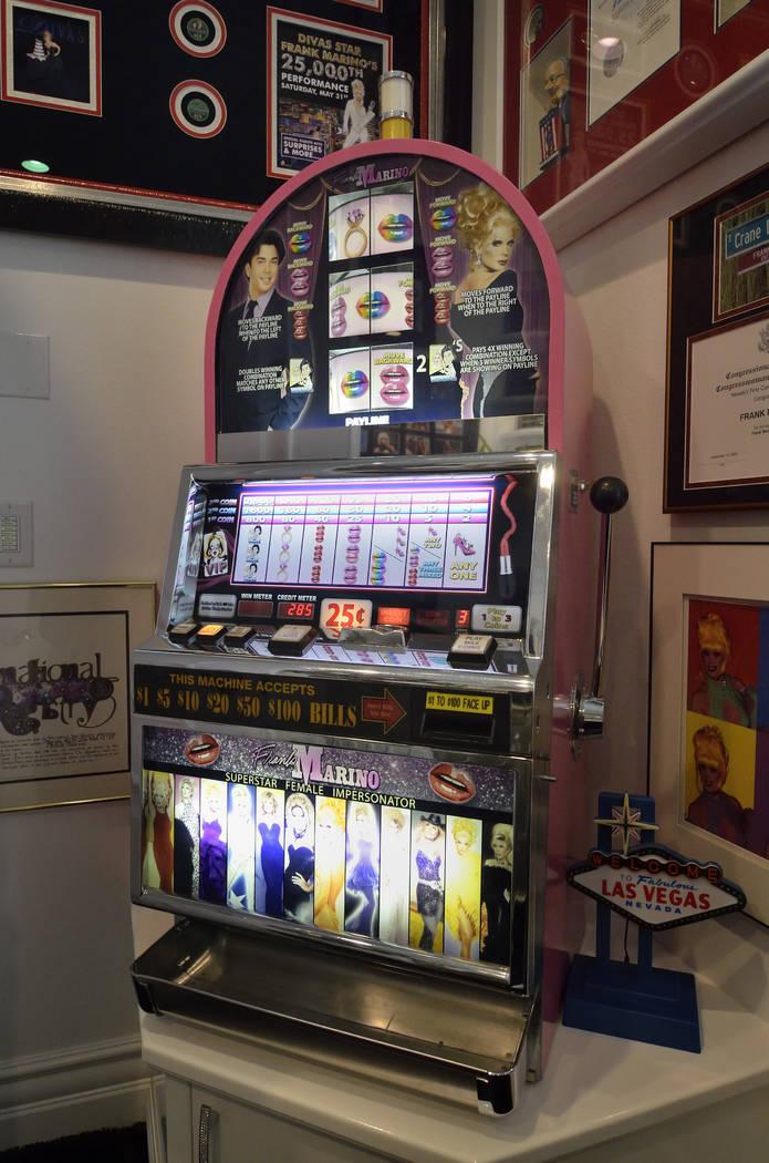 The office displays a custom Frank Marino slot machine. (Bill Hughes Real Estate Millions)