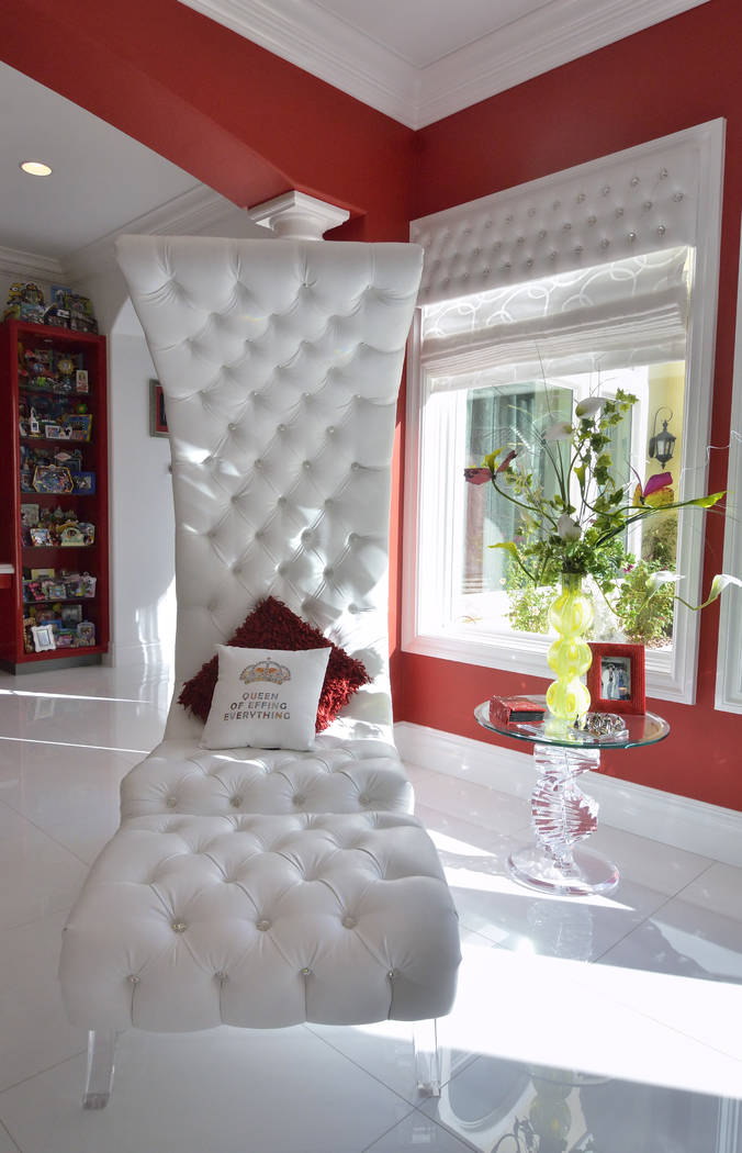 The whole house is white, feathered with black, silver and splashes of red throughout. (Bill Hughes Real Estate Millions)