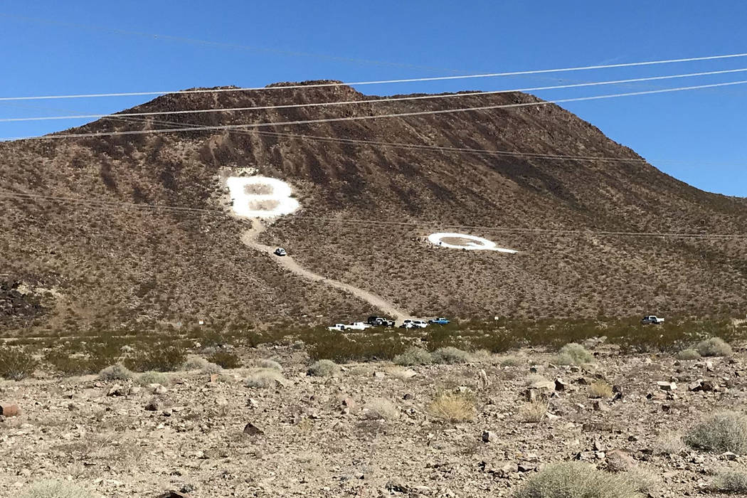 A giant Q in honor of Quinton Robbins was assembled Saturday, Oct. 21, 2017, on the mountain east of Basic High School in Henderson. Friends and family of Robbins, who was killed in the Route 91 H ...