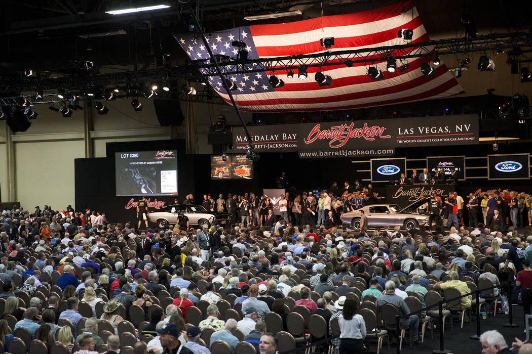 A 1970 Chevrolet Camara RS/SS on the Barrett-Jackson car auction floor at the Mandalay Bay Convention Center in Las Vegas, Friday, Oct. 20, 2017. Erik Verduzco Las Vegas Review-Journal @Erik_Verduzco