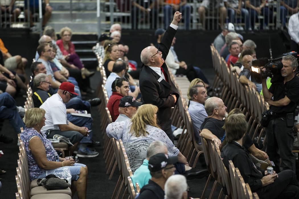 Rodney Wesselman takes a bid during the Barrett-Jackson car auction at the Mandalay Bay Convention Center in Las Vegas, Friday, Oct. 20, 2017. Erik Verduzco Las Vegas Review-Journal @Erik_Verduzco