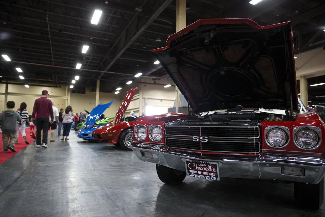 The Barrett-Jackson car auction showroom floor at the Mandalay Bay Convention Center in Las Vegas, Friday, Oct. 20, 2017. Erik Verduzco Las Vegas Review-Journal @Erik_Verduzco