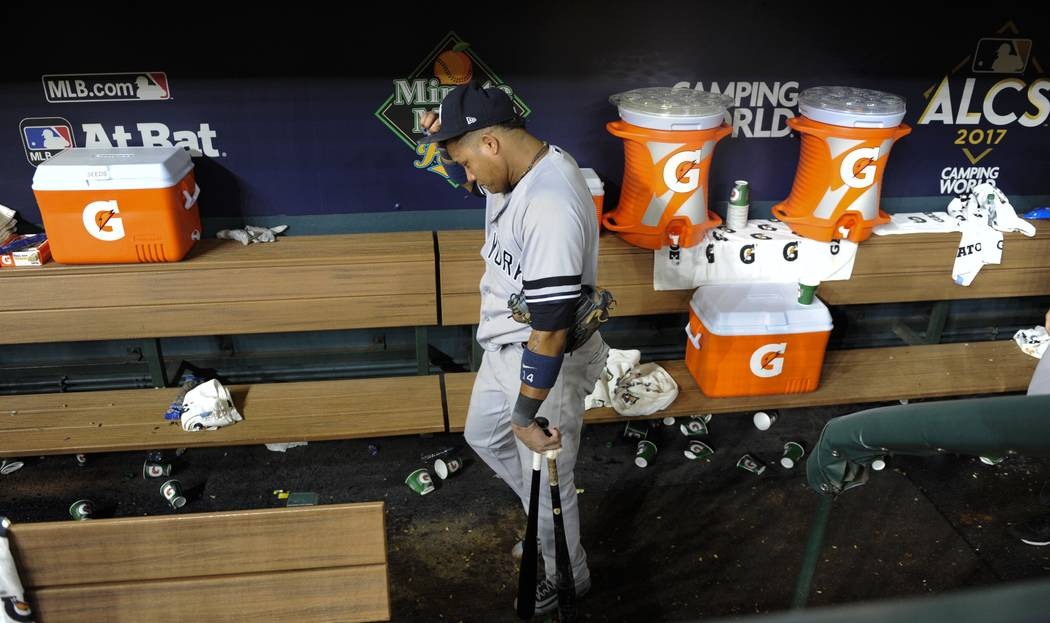 New York Yankees' Starlin Castro walks to the clubhouse after Game 7 of baseball's American League Championship Series against the Houston Astros Saturday, Oct. 21, 2017, in Houston. The Astros wo ...