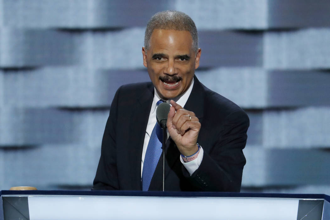 Former Attorney General Eric Holder speaks during the second day of the Democratic National Convention in Philadelphia in 2016. (AP Photo/J. Scott Applewhite, File)