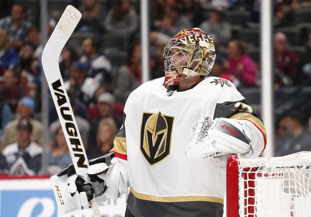 Las Vegas Golden Knights goalie Maxime Lagace looks on during the first period of a preseason hockey game against the Colorado Avalanche Tuesday, Sept. 19, 2017, in Denver. (AP Photo/Jack Dempsey)