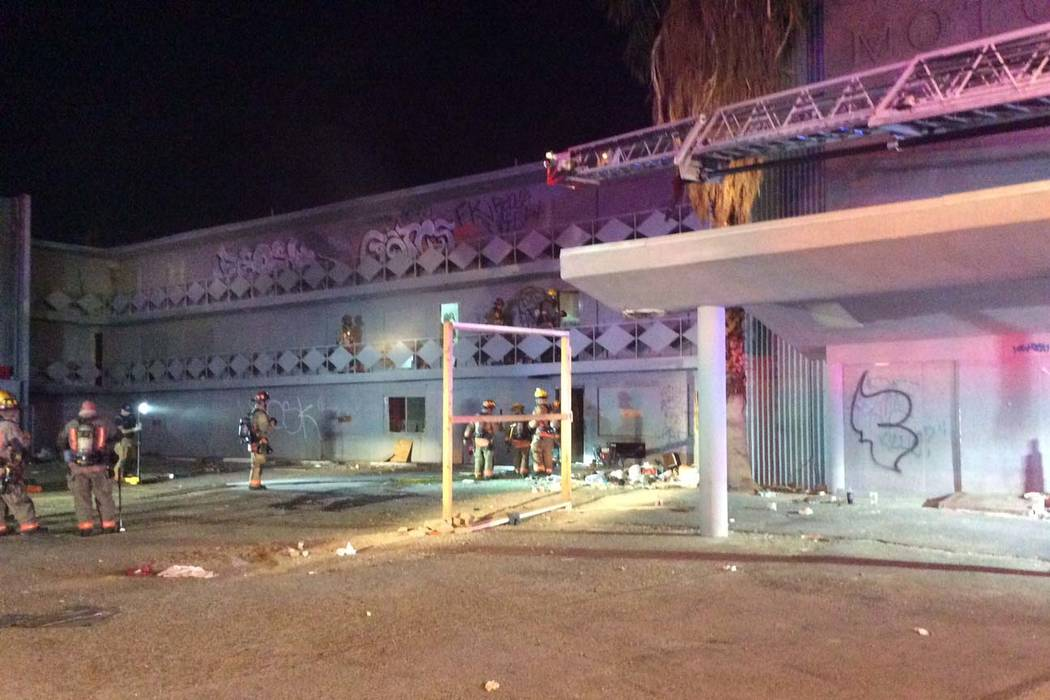 The Las Vegas Fire Department works a fire at the vacant TodMotorMotel,nearLasVegasBoulevardSouthand4thStreet, early Sunday, Oct. 22, 2017. (Las Vegas Fire Department)