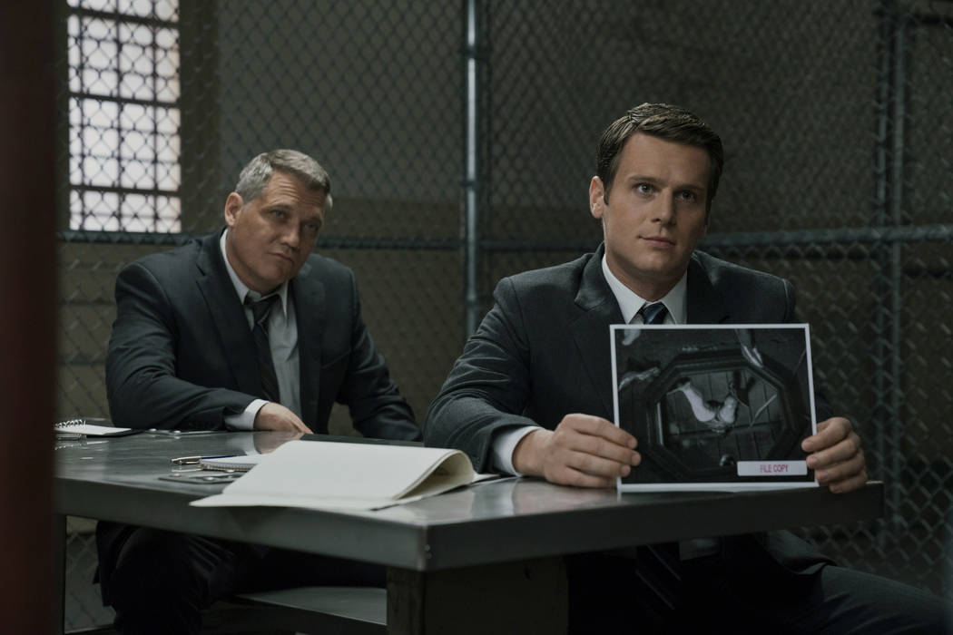 "Holt McCallany, left, and Jonathan Groff star in Netflix's ""Mindhunter."" (Patrick Harbron/Netflix)"