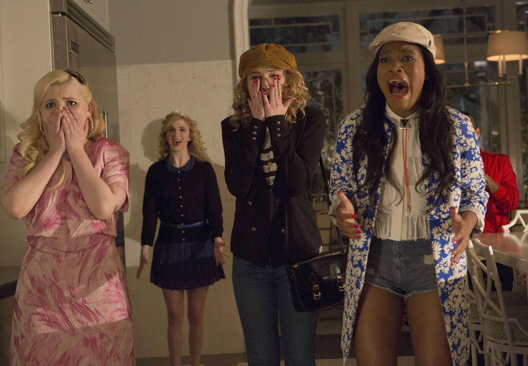 SCREAM QUEENS: Chanel #5 (Abigail Breslin, L) and new Sorority Pledges Grace (Skyler Samuels, C) and Zayday (Keke Palmer, R) are horrified on SCREAM QUEENS premiering September 2015 on FOX. © ...