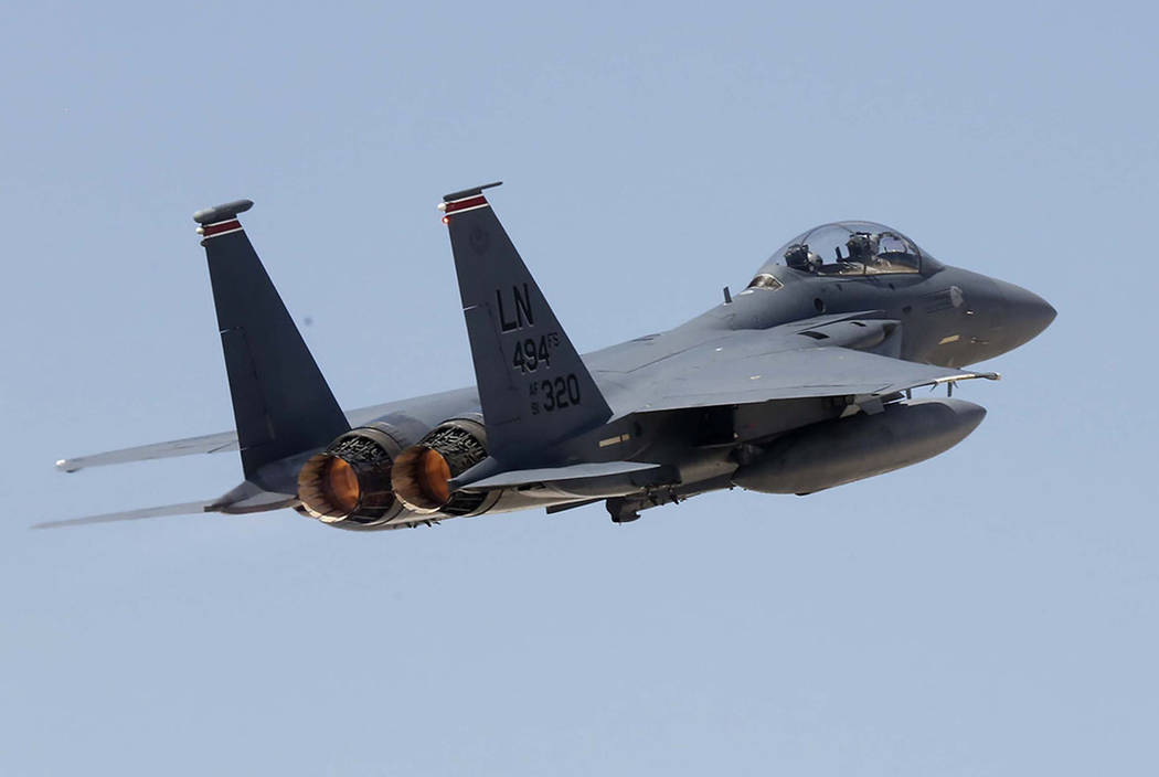 An F-15 Strike Eagle takes off from Nellis Air Force Base for training flight on Wednesday, July 26, 2017, in Las Vegas. Bizuayehu Tesfaye Las Vegas Review-Journal @bizutesfaye